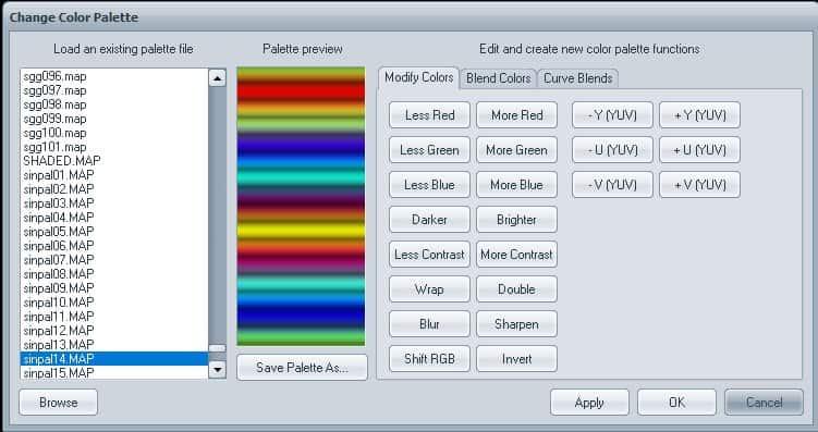open change color palette