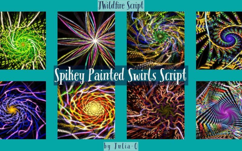 Spikey Painted Swirls Script Image